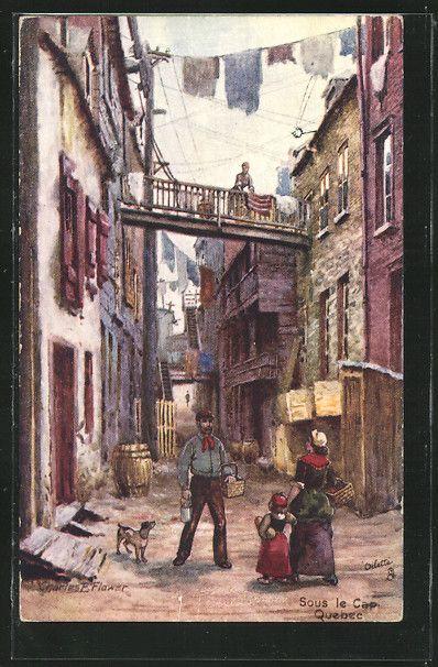 carte postale ancienne: CPA Illustrateur Charles F.Flower: Quebec, Sous le Cap   Canadian ...
