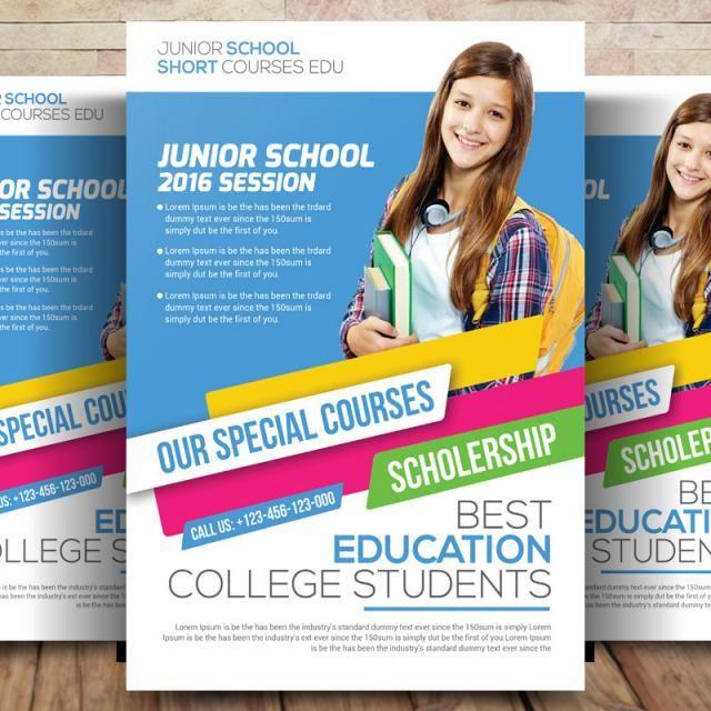 Elementary School Brochure Template: Kids Education Flyer Template