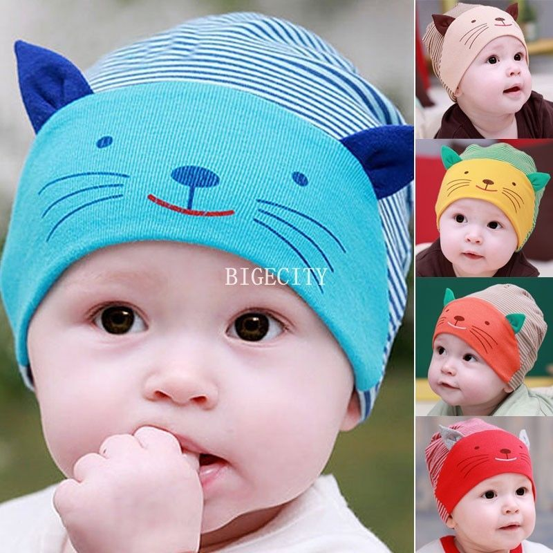 323c51fb0b8 Cute Cartoon Cat Beanie Infant Hat Cotton Striped Warm Cap For Baby Kid s