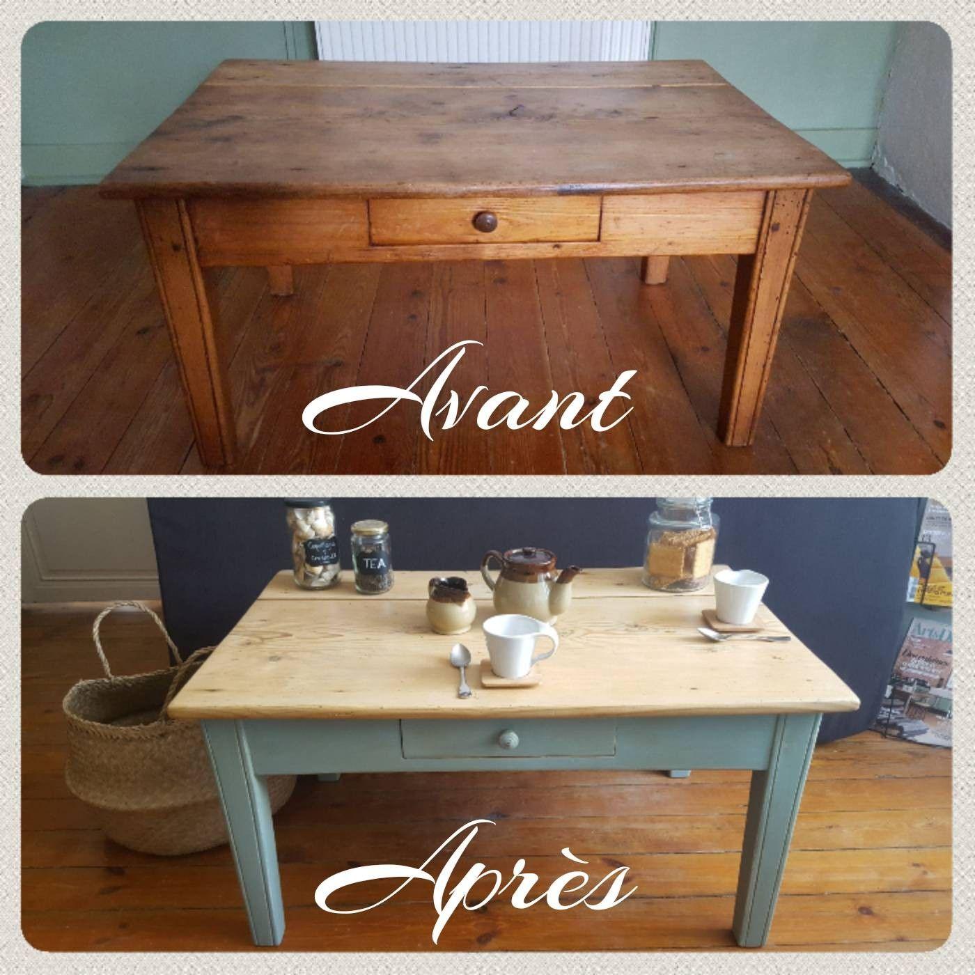 Avant Apres Table Basse Rustique Vintage Relooke Et Patine Mobilier De Salon Tables Basses Rustiques Boiseries