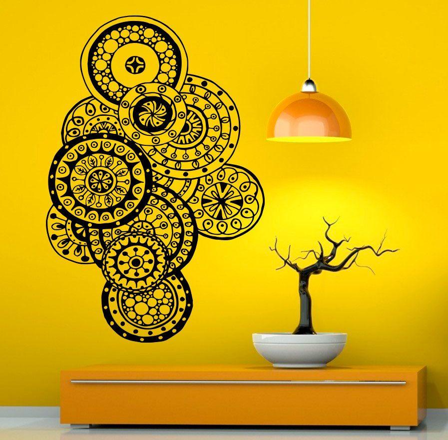 Mehndi Wall Vinyl Decal Mandala Lotus Stickers Art Design Murals ...