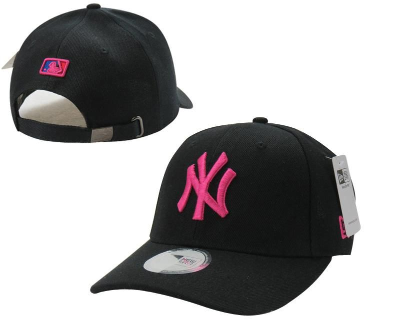 Mens Womens New York Yankees New Era Solid 6 Panel Strap Back Baseball Adjustable Polo Cap Black Pink Ls Black Pink New York Yankees Hip Hop Sweatshirts