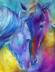 """""""LOVING SPIRITS Color My World with Horses"""" by Marcia Baldwin: An original oil painting by Marcia Baldwin from her series of Color My World With Horses"""