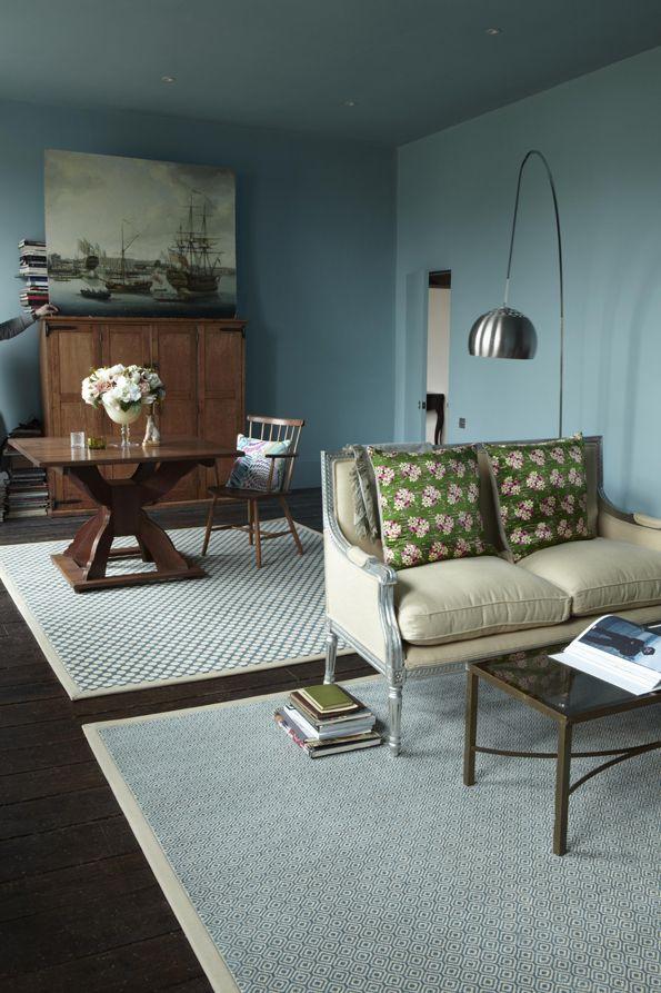 Tess Duck Egg Rug Blue Walls Living Room Alternative Flooring Country House Interior