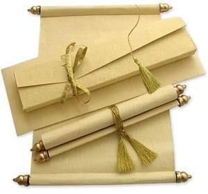 Scrolls are common wedding invitations for Pakistanis usually with