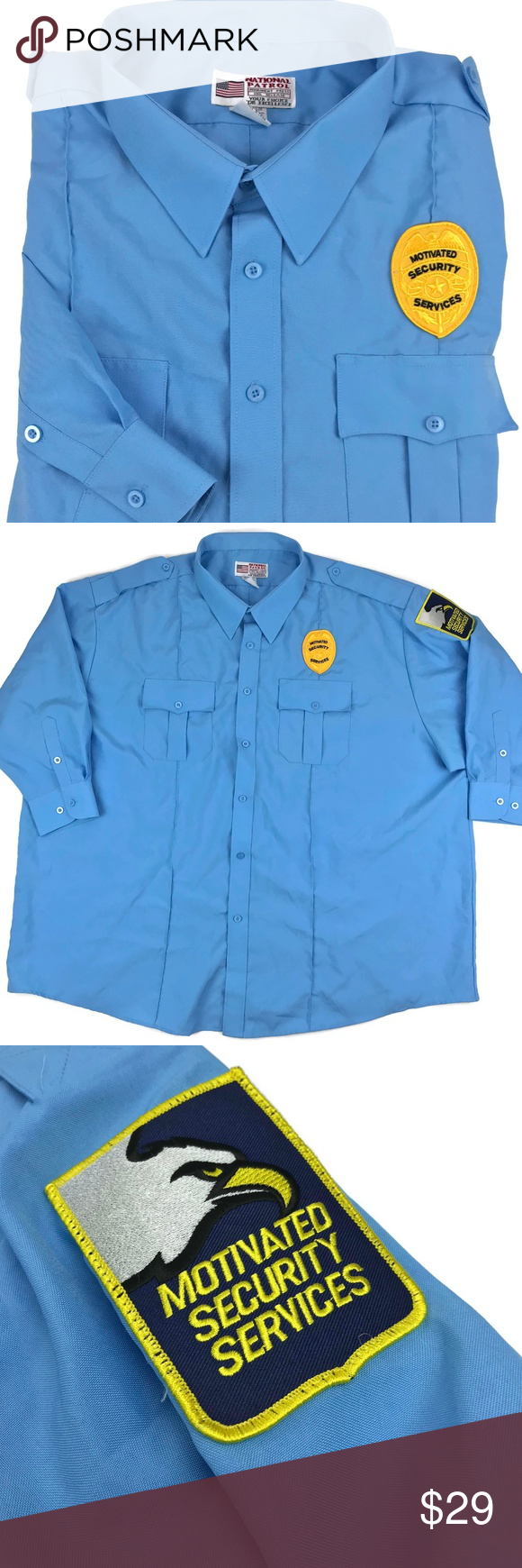 Security Guard Uniform Shirt Halloween Costume 4xl Uniform Shirts Shirts Colorful Shirts