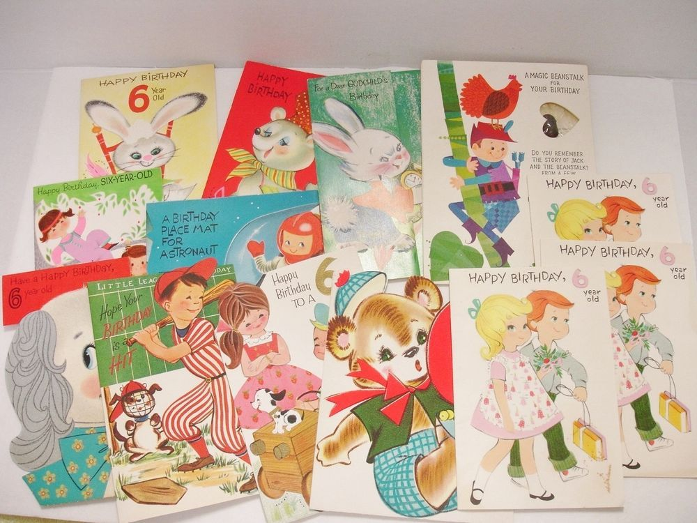 Vintage Used Birthday Cards for a 6 Year Old 13 Cards Late 1950's-Early 1960's
