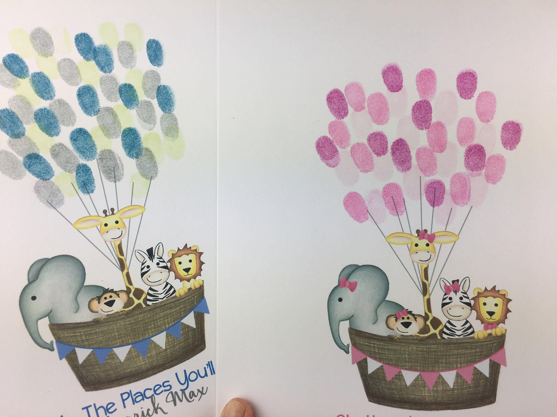 Balloon fingerprint guestbook jungle nursery decor girls zoo animal birthday party jungle baby shower ideas Girl/'s safari guestbook