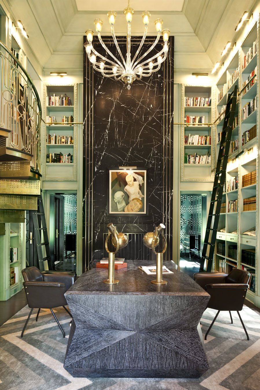 Kelly wearstler interiors evergreen residence library interiors library and office for Kelly wearstler interior design