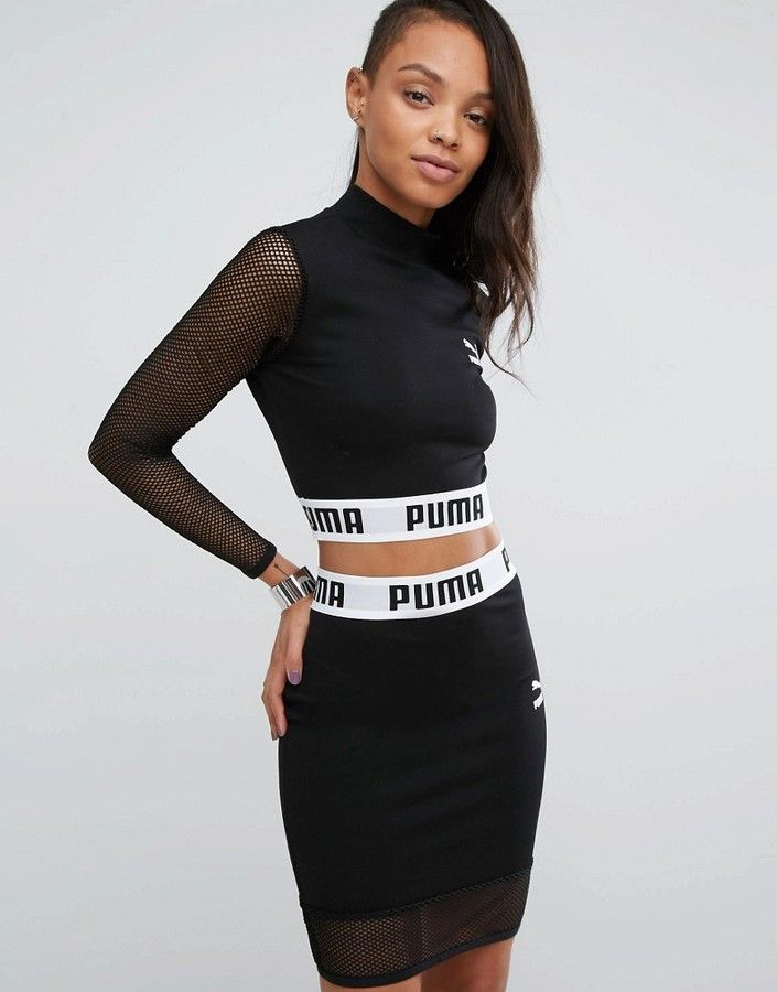 Puma Exclusive To ASOS Cropped Mesh Top Co Ord  c6c96a0f029