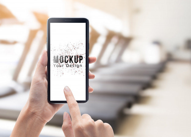 Woman Hand Holding And Touching Black Smartphone With Blank Screen Mockup Template Mockup Template Mockup Templates
