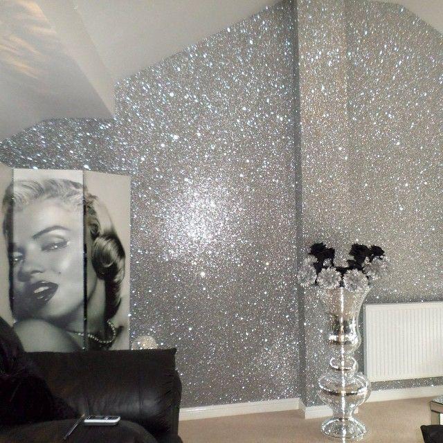 Glitter walls obsessed home pinterest walls for Glitter bathroom wallpaper