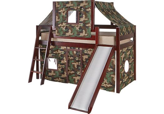 Picture Of Camo Cabin Cherry Loft Bed W Slide And Tent