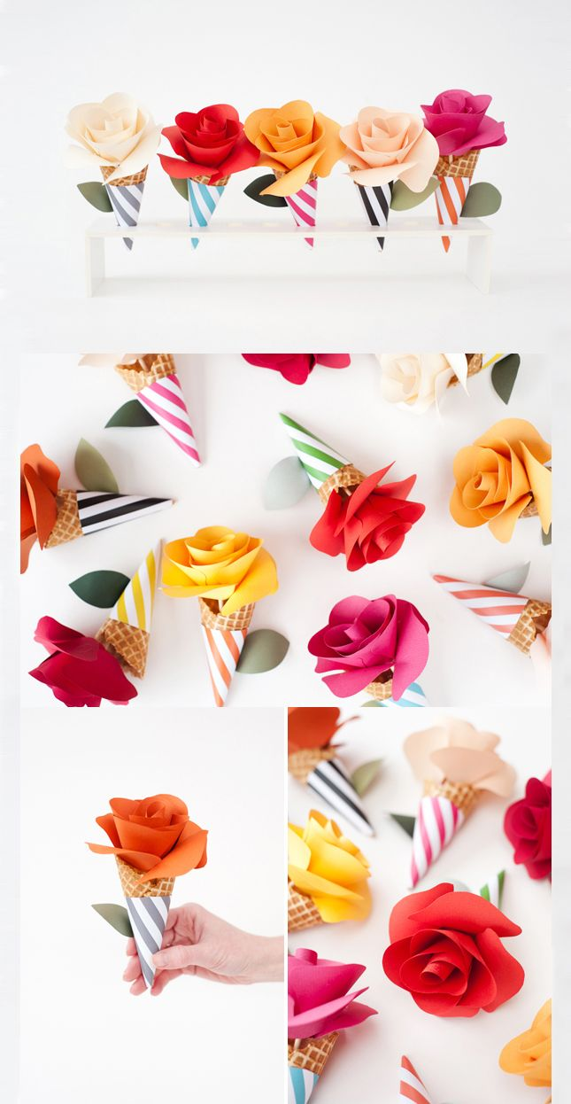 Diy Paper Flower Cone Bouquets Techlovedesign Papercrepe