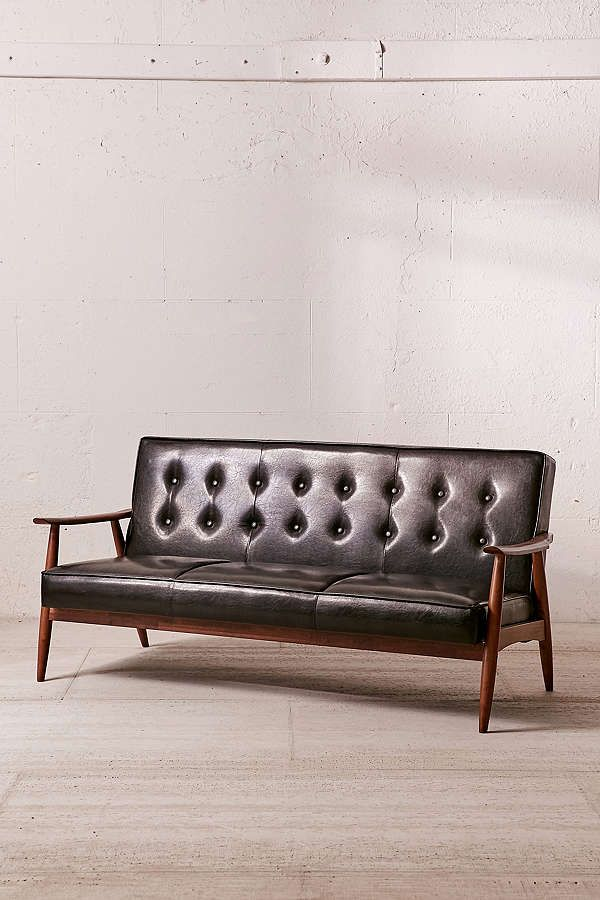 Slide View: 2: Wyatt Faux Leather Sofa Faux Leather Couch, Velvet Chaise  Lounge