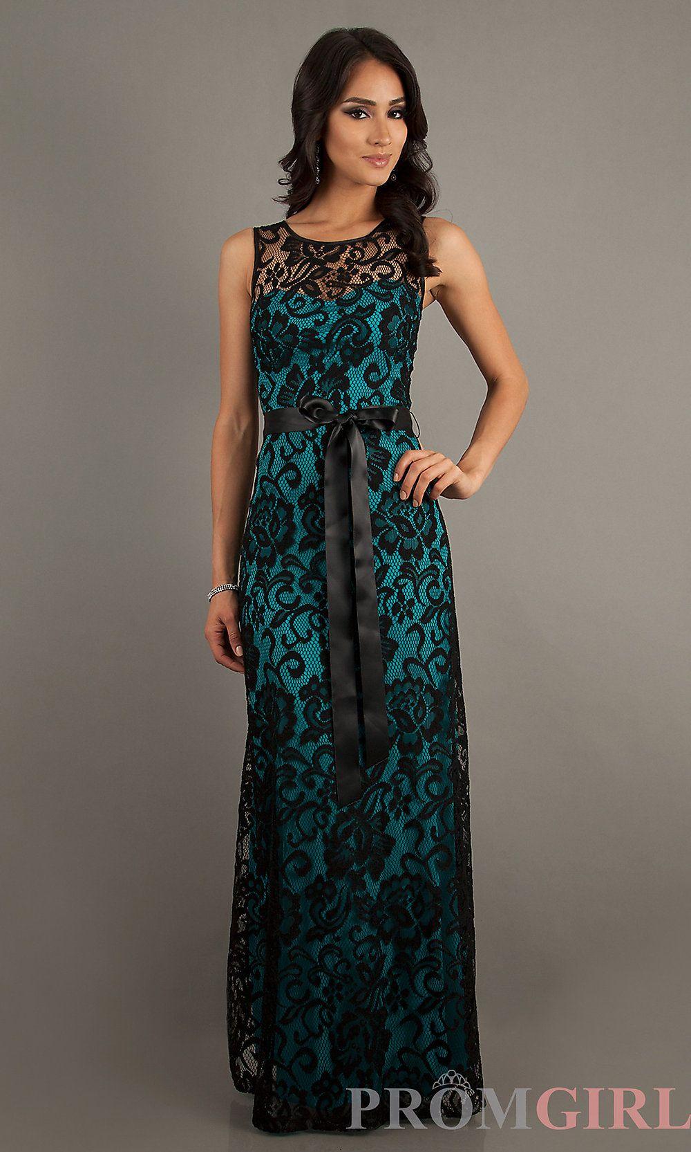 Teal and Black Floor Length Dresses