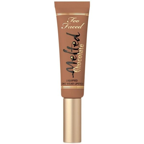 Too Faced Melted Chocolate Liquified Long Wear Lipstick ($21) ❤ liked on Polyvore featuring beauty products, makeup, lip makeup, lipstick, beauty, lips, cosmetics, fillers, chocolate honey and long wear lipstick