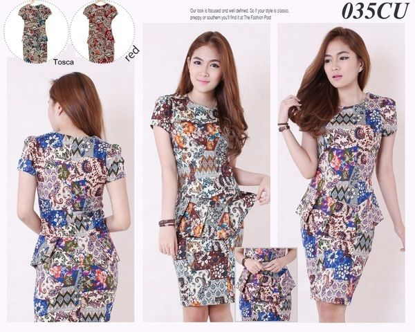 Batik Peplum Mini Dress