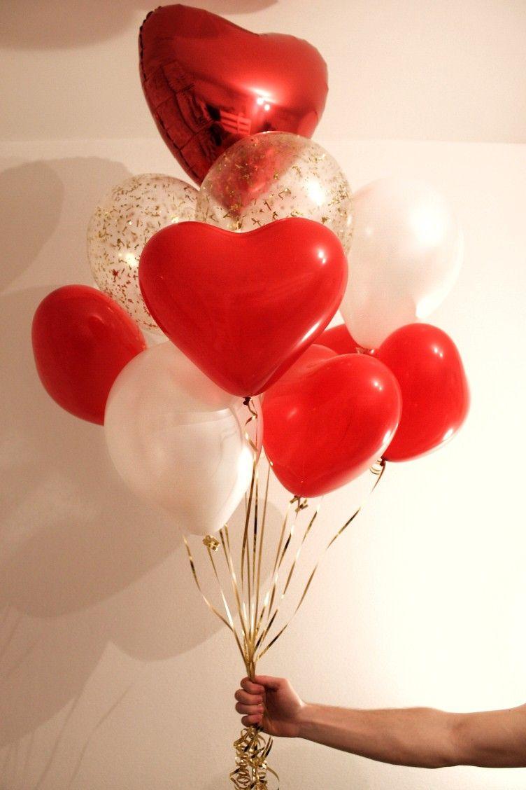 Сердечки sempertex красные и белые, шары конфетти с ...