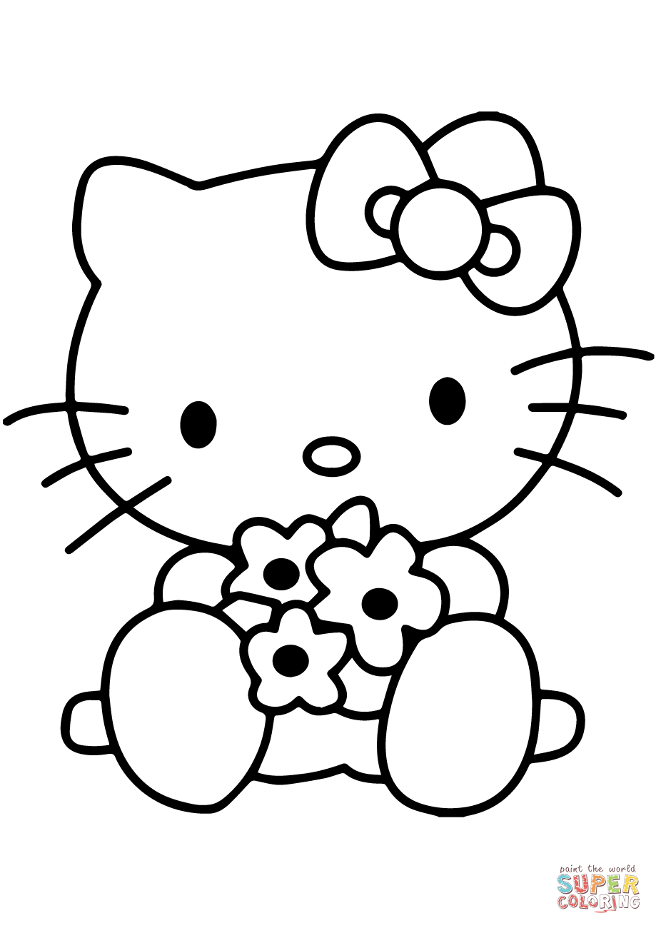 Hello Kitty With Flowers Super Coloring Hello Kitty Drawing Hello Kitty Coloring Hello Kitty Colouring Pages