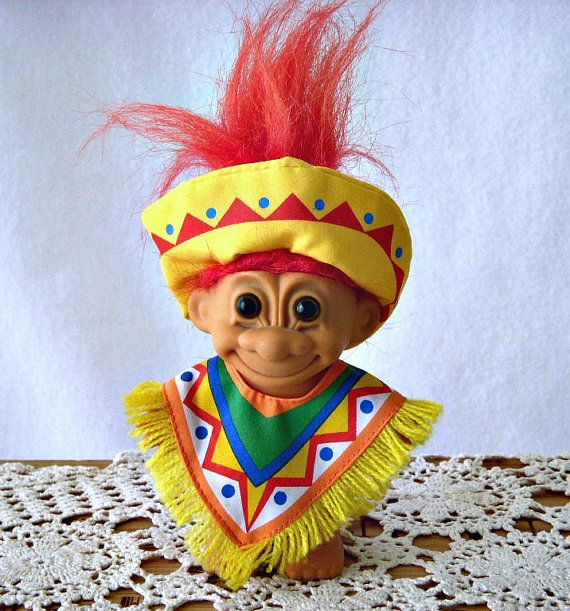 vintage russ troll toy collectible troll around the world mexico