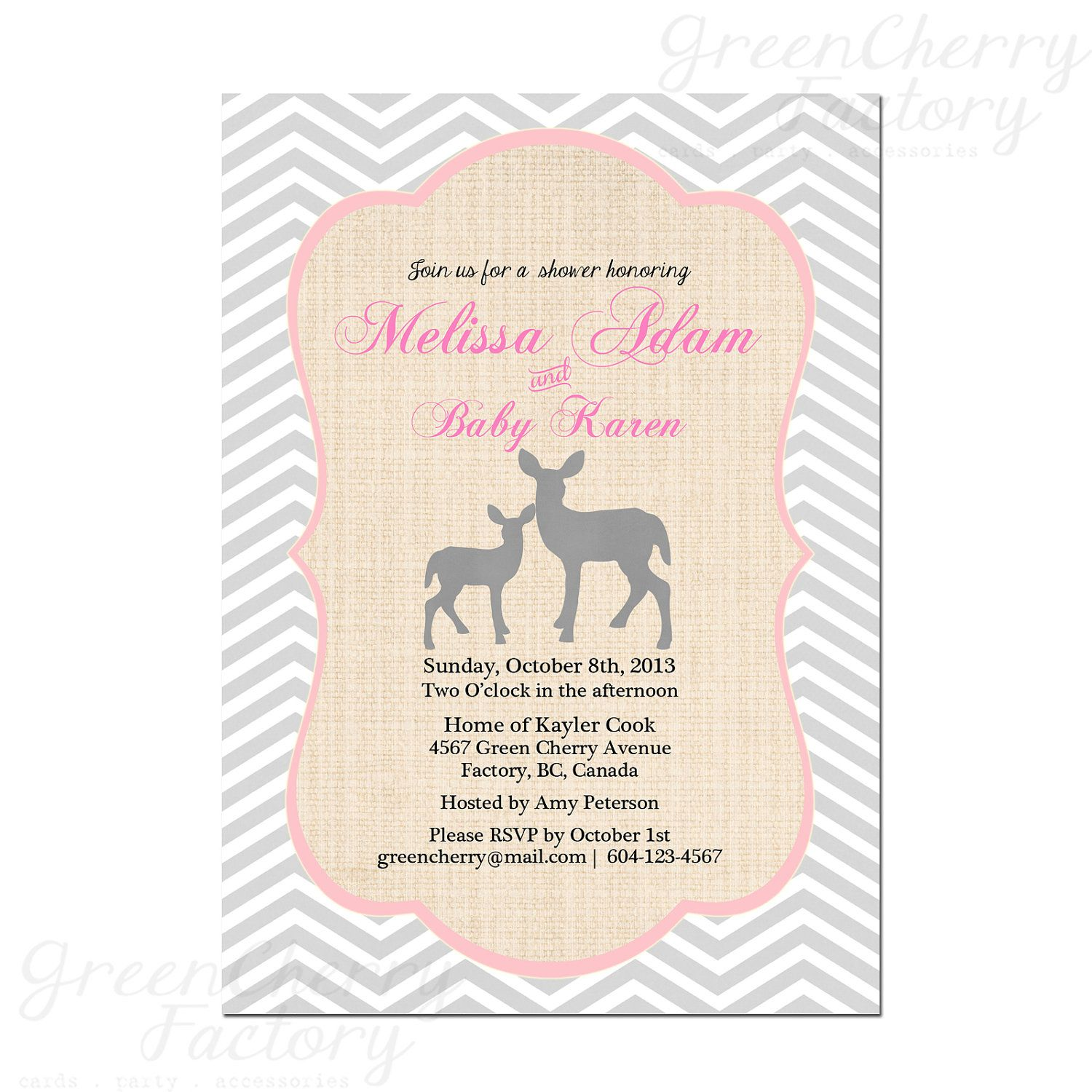 Printable Pink Gray Baby Girl Shower Invitation Pink Gray