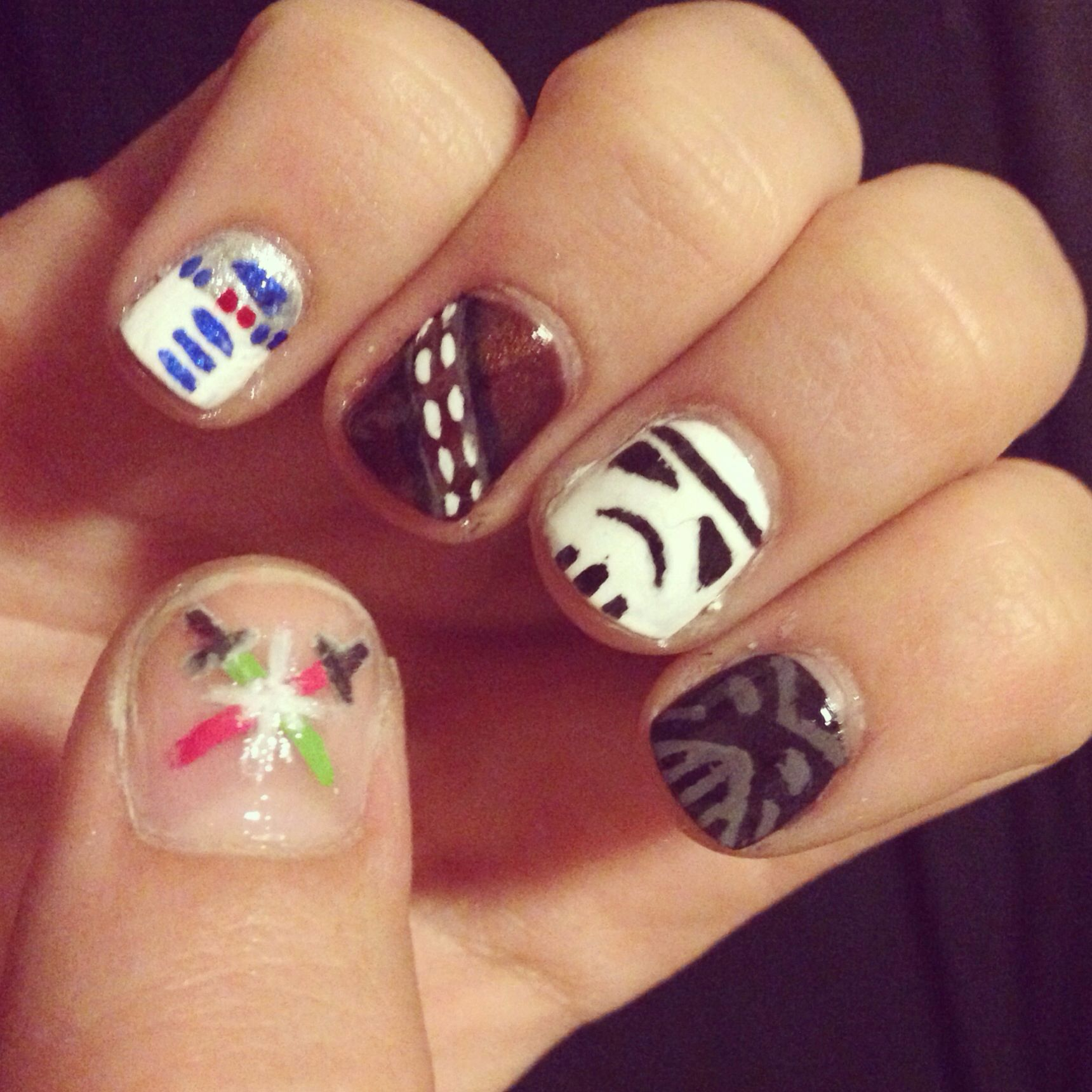 Star Wars nails #nails #nailart #starwars #chewbacca #stormtrooper ...
