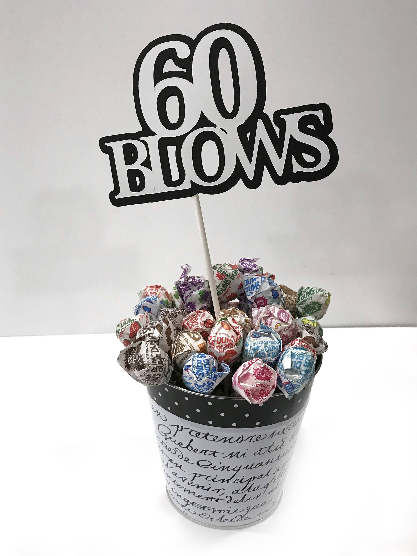 60Th Birthday  60 Blows  Cake Topper Decoration, Black