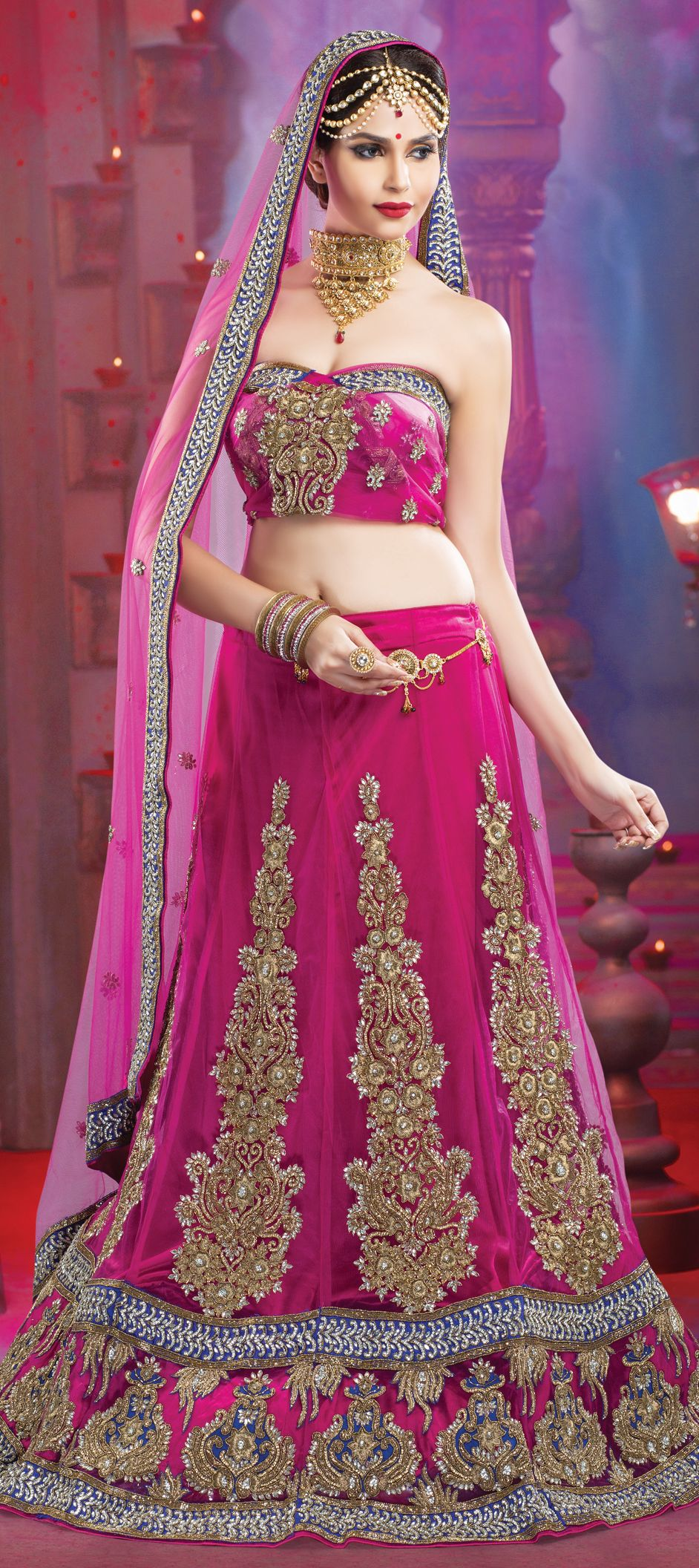 149114: Pink and Majenta color family Bridal Lehenga. | Vestidos ...