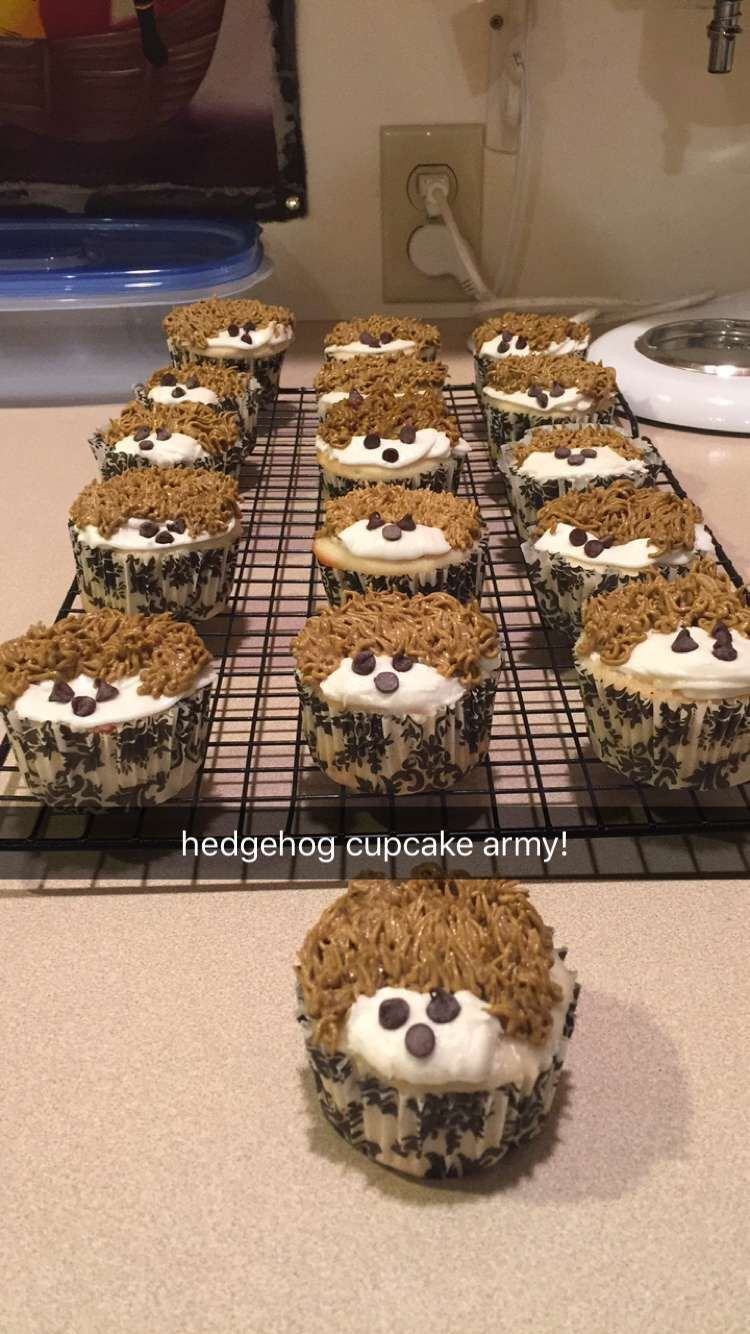 Hedgehog cupcakes: white almond sour cream wedding cake with hazelnut mousse filling and vanilla buttercream frosting.