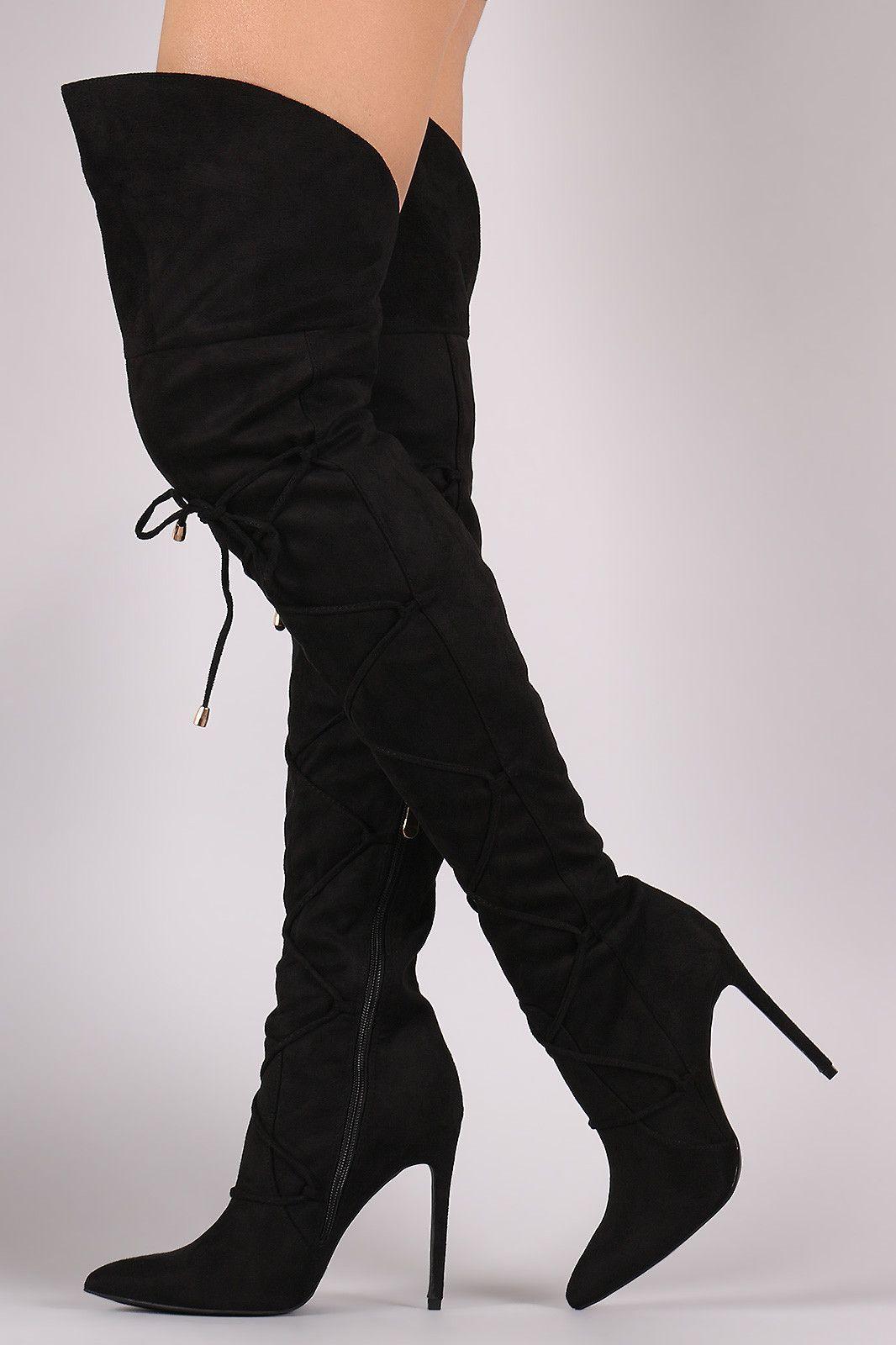 6e3455c4493 Lace Front Pointy Toe OTK Stiletto Boots