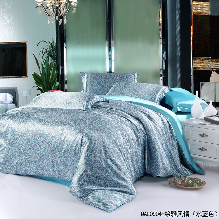 Click To Aqua Blue Paisley Mulberry Silk Bedding Set For King