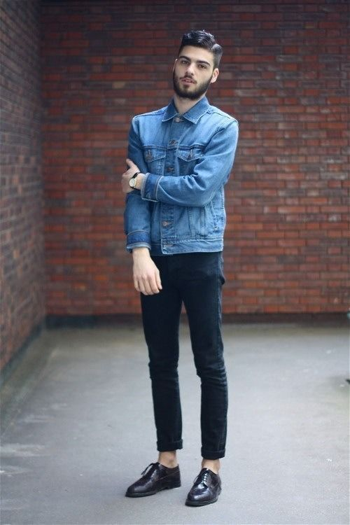 Men's Blue Denim Jacket, Black Skinny Jeans, Dark Purple Leather ...