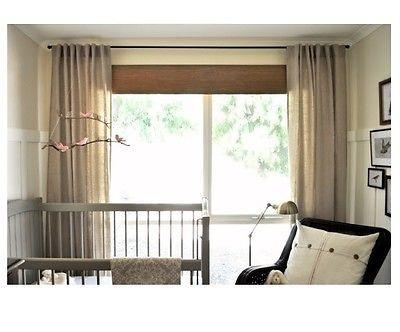 Ikea Aina Pair Of Curtains Linen Drapes 2 Panels 98 Long Beige Tan New .