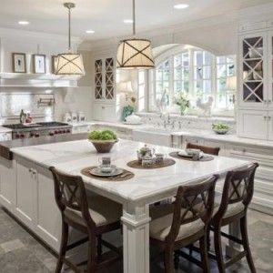 30 Bright and White Kitchens | Large kitchen island, Storage and ...