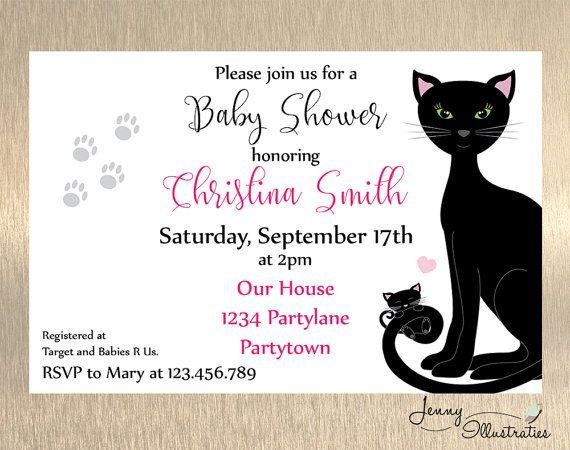 cat baby shower invitation baby shower invitation cat baby shower invitation girl digital