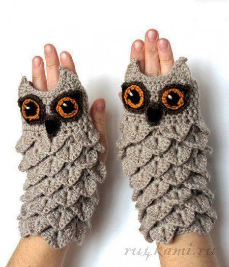 Митенки крючком «Совушки» | Gloves | Pinterest | Crochet, Gloves and ...