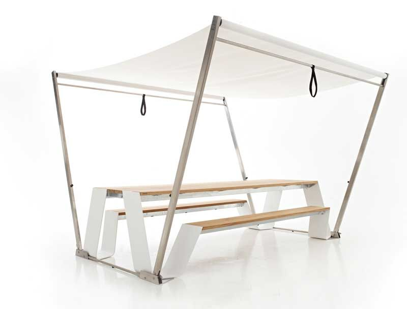 cool picnic table, with easy open canopy | design | pinterest