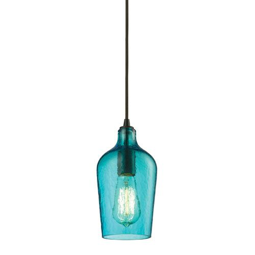Hammered Aqua Glass Oil Rubbed Bronze One Light Mini Pendant Elk Lighting Cord Mini Pendan