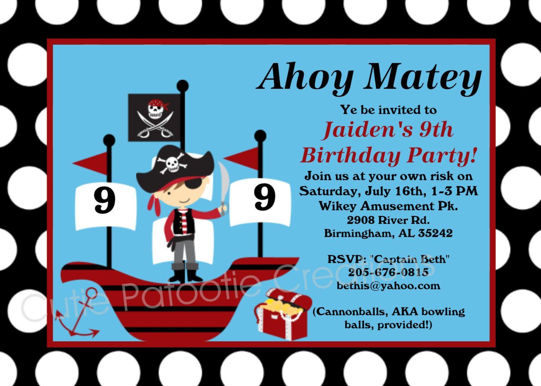 Pirate Birthday Invitation - Pirate Party Invitations Printable or ...