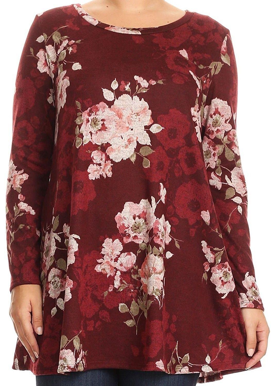 705ca1ebd06 BNY Women Plus Size Long Sleeve Floral Pattern Pocket Tunic Knit Top ...