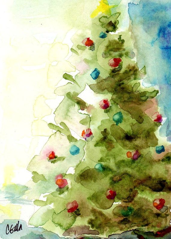 5 X 7 Christmas Tree Holiday Print From Original Watercolor