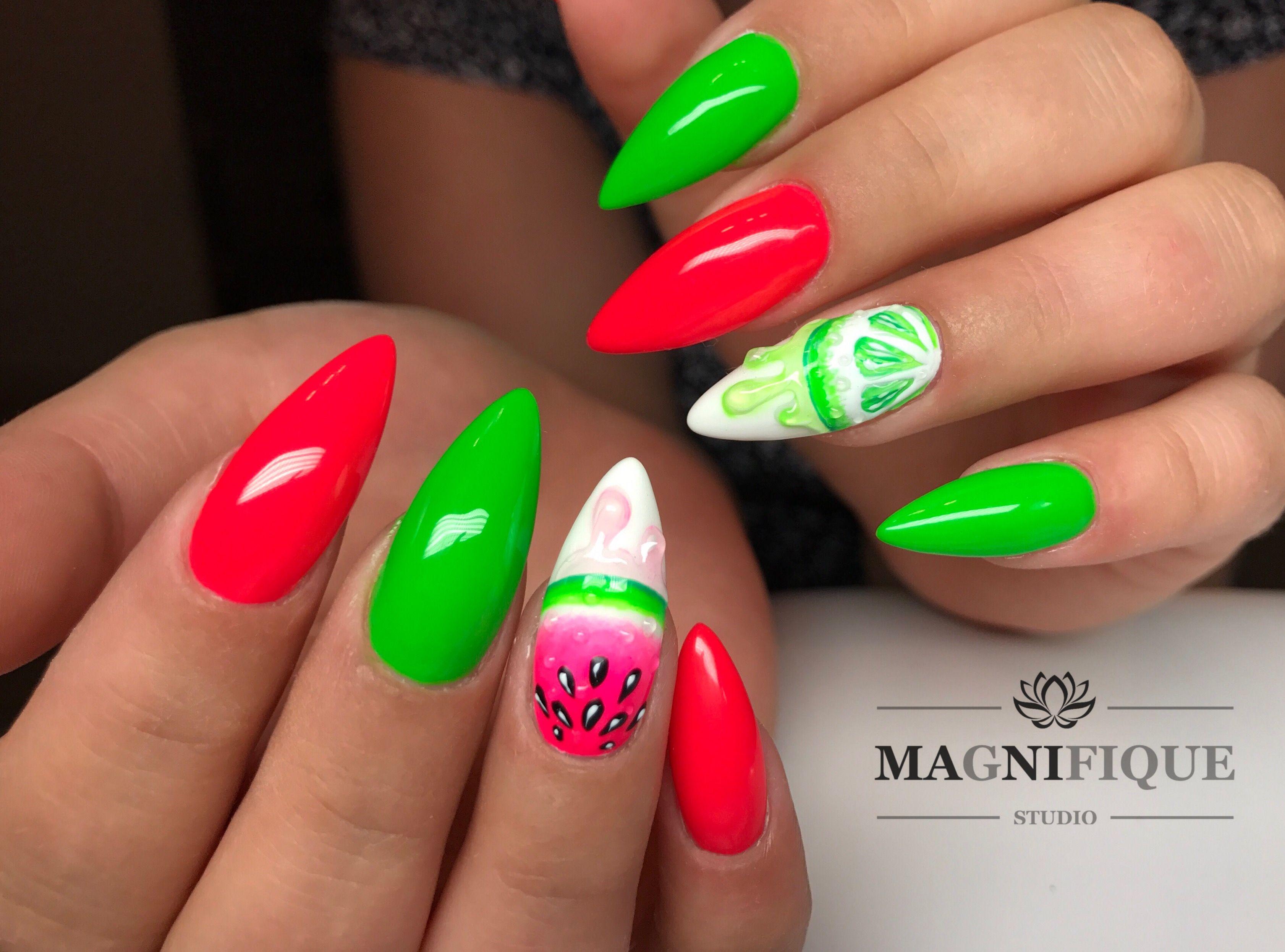 Neon Nails Summer feeling red Pink Green Indigo Nails   nails ...
