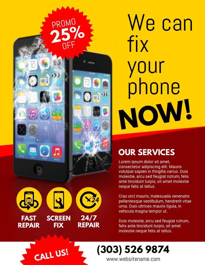 Mobile repair shop advertisement flyer poster graphic ...
