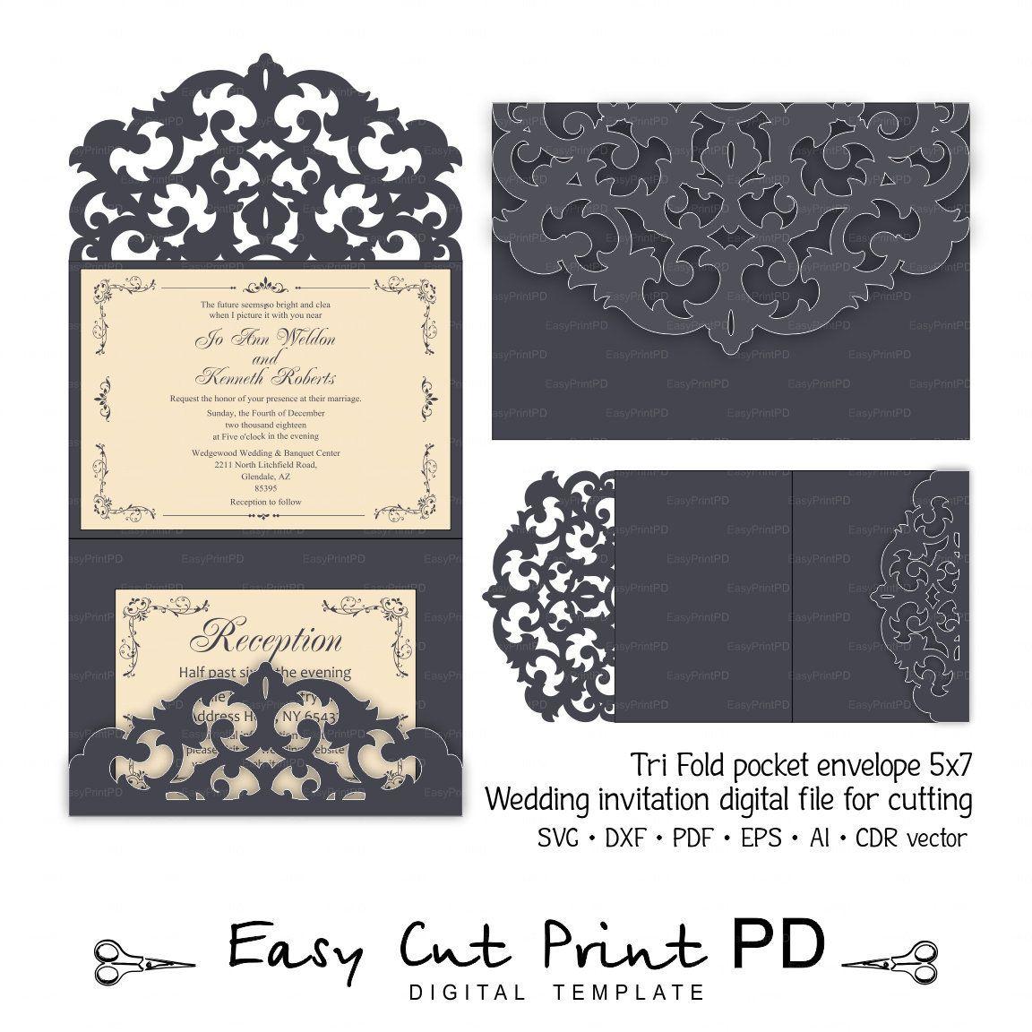 Tri Fold Pocket Envelope 5x7 Invitation Wedding Card Template Etsy Cricut Invitations Cricut Wedding Invitations Wedding Card Templates