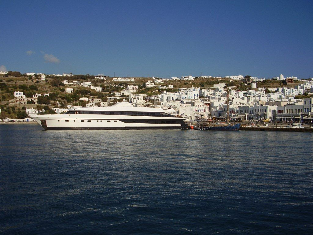 The Harmony G docked in Mykonos, Greece
