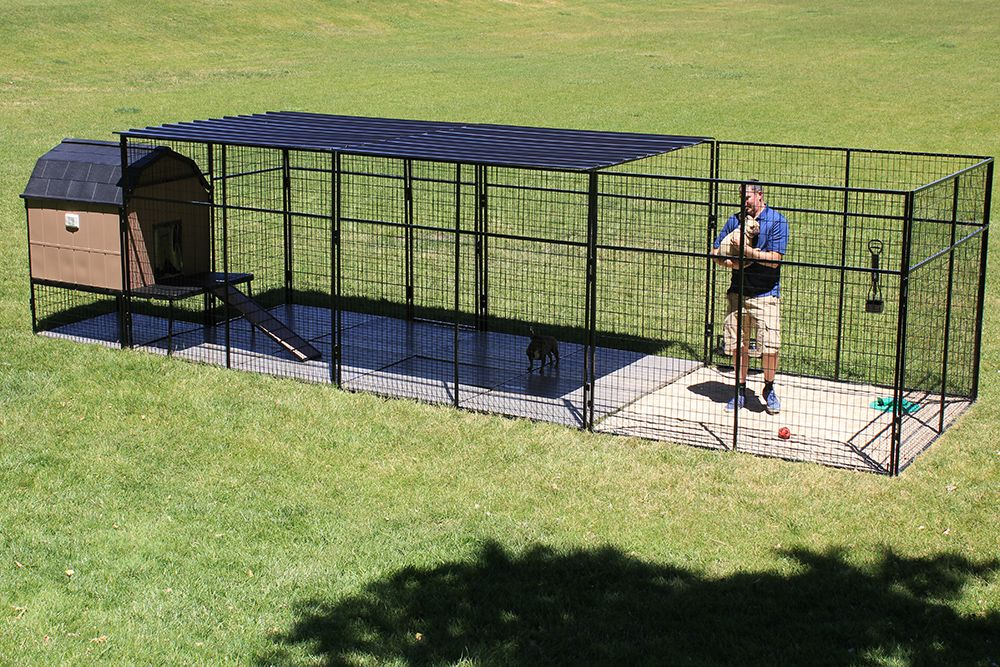 7 Foot Tall Dog Kennel With Large Dog House The 7 Tall Dog Kennel Allows For You To Fully Enter The Dog House Have A Ro Dog Kennel Dog Enclosures K9