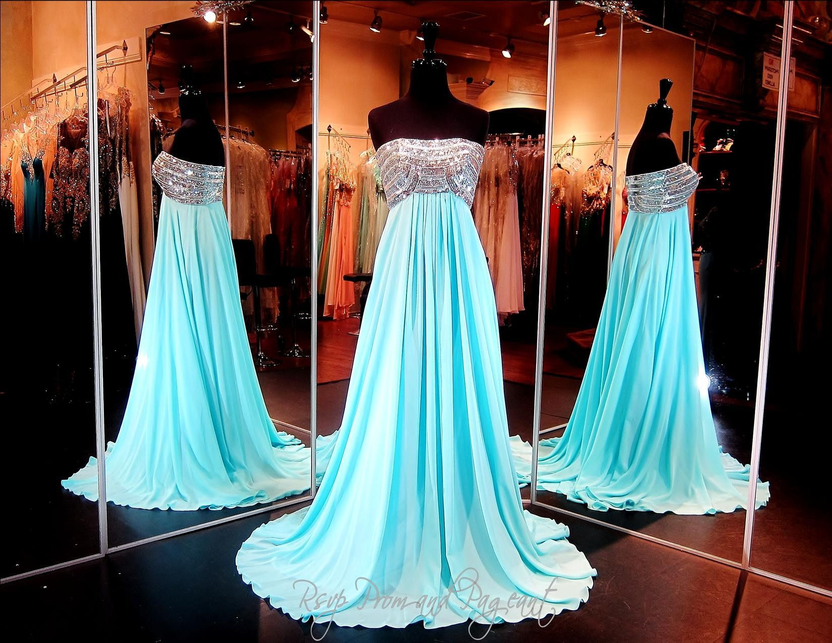 Aqua Chiffon Strapless Evening Gown-Empire Waist-Silver Beaded Top ...