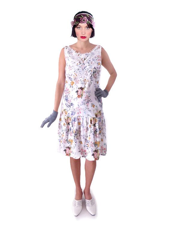 Blanche Fleuris Ample Robe Année Fleurs Charleston VingtMes 20 qpMVzSU
