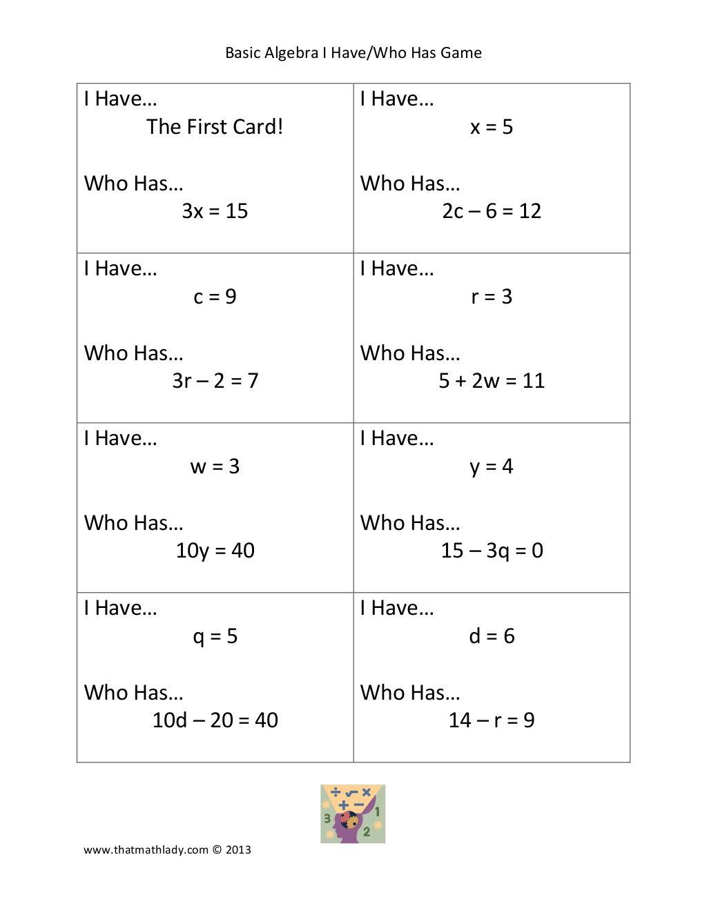 basic-algebra-i-havewho-has-game by Thatmathlady via Slideshare ...